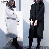 Winter Woolen coat female jacket women long Korean 2018 black woman wool blend jackets ladies coats women's overcoat outwear