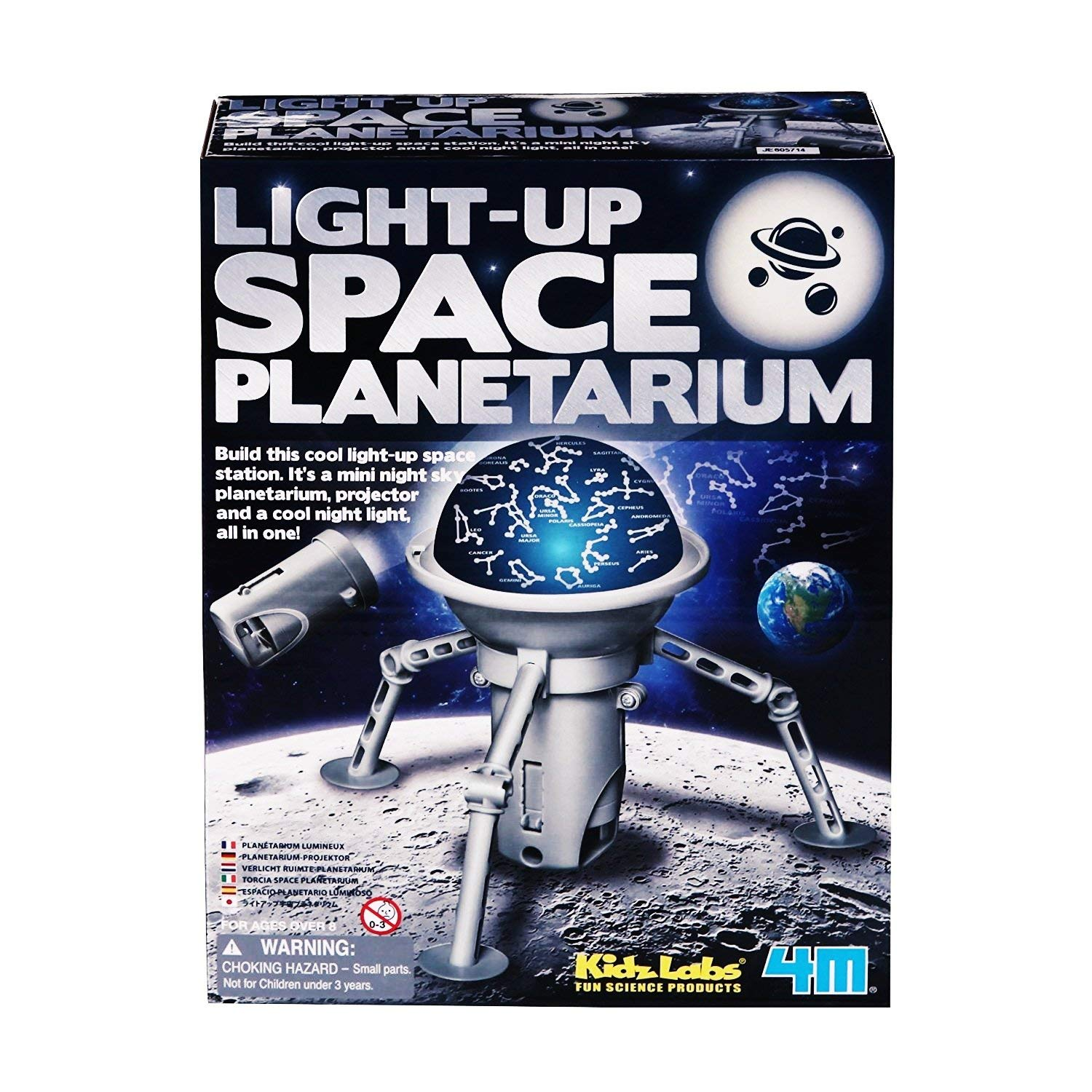 4M Kidz Labs Light-up SPACE PLANETARIUM Build This Cool Light-up Space Station Hand Assembled Toys Interesting Interactive Games