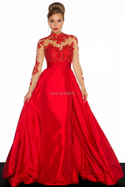 2014 New Colors Satin High Neck A Line Long Sleeve Prom Dresses Plus Size  Evening Gown For Ball b7206f8301bd
