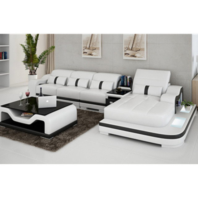 Most Durable Contemporary Furniture With Tea Table Wooden Leisure Leather Sofa