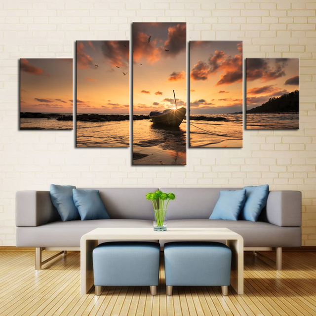 Canvas For Living Room Wall Part - 41: 5 Piece Sunset Seaview Boat Canvas Painting Large Print Art For Living Room  Wall Art Home