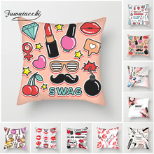 Fuwatacchi Lipstick Makeup Painted Cushion Cover Perfume Bottles Pillow For Chair Living Room Decoration Pillowcases