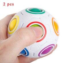 2Pcs7CM Magic Rainbow Ball Football Fidget Cube 2018 Hot Decompression Finger Toys Children Adult Christmas Gifts New Arrival