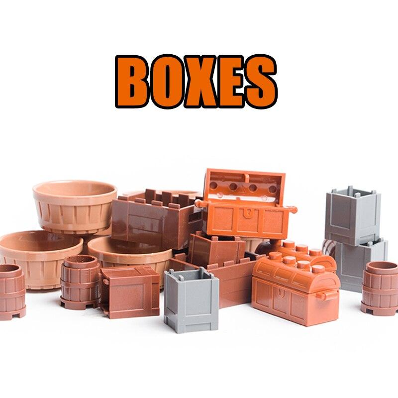 5PCS City Accessories Food Box Building Blocks Pirates Treasure Chest Block Parts Bread Fruit Basket Building Block Toy