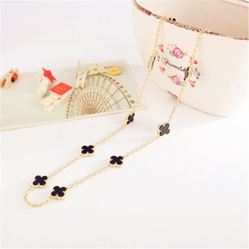 Hot Sell High Quality Shell Black Onyx Malachite Ten Flower Clover Necklace Fine Jewelry For Women Gift