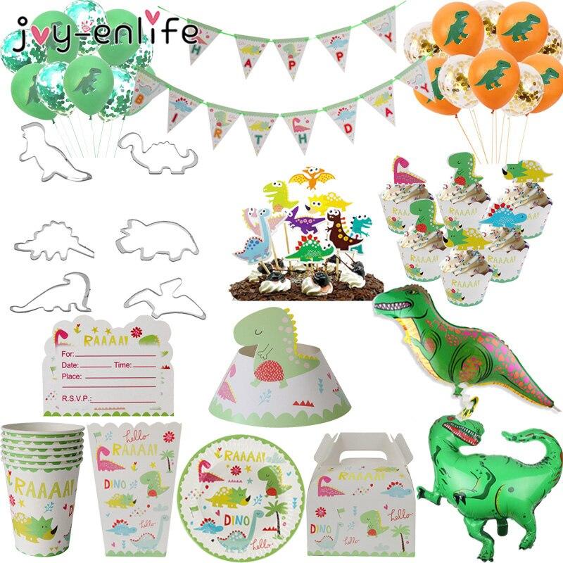 Cartoon Green Dinosaur Theme Hanging Banner Disposable Cupcake Wrapper Popcorn Box Dish For Children Birthday Party Decorations