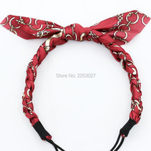 Fashion Floral Print Bows Broadside Headband Rayon Hair Band Hair Accessories For Women