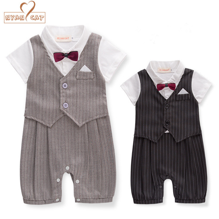 Nyan Cat Newborn baby boy clothes gentleman style clothing Kids summer short-sleeved boys  black and gray bow tie striped Romper