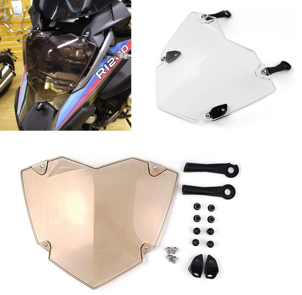Clear/ Brown Polycarbonate Front Headlight Guard Cover Lens Protector For 2013-2017 BMW R1200GS ADV Head Light