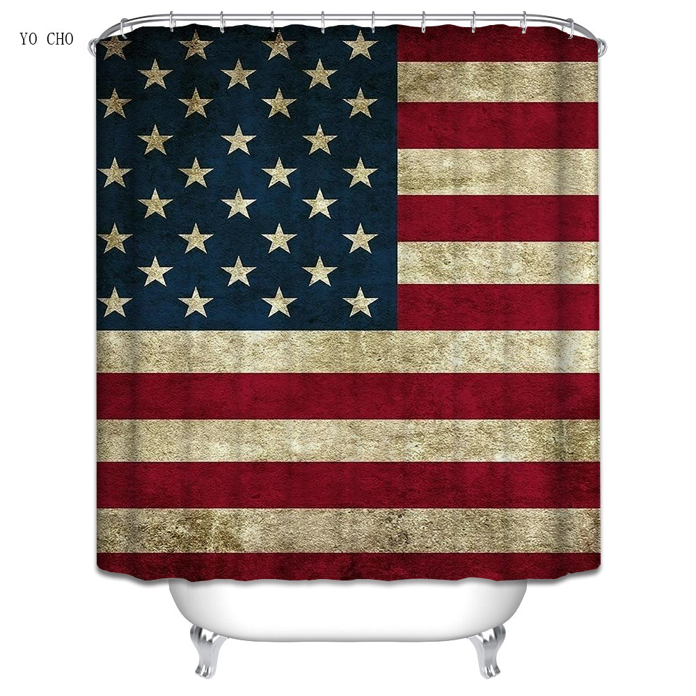 American Flag Shower Curtain PromotionShop For Promotional - Us map american flag