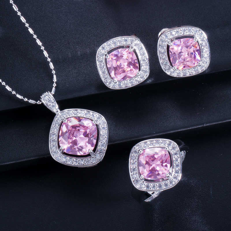 Fashion Black CZ Crystal Jewelry Set For Women Sterling Silver 925 Zircon Necklace Earring And Rings Sets Mothers Day Gift T258