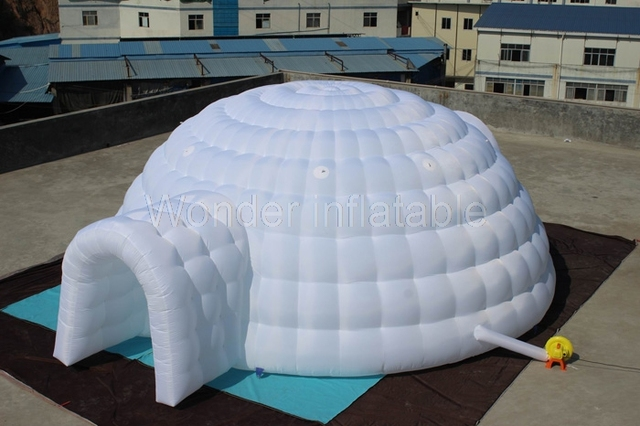 Hot selling 8m large outdoor hemispherical exhibition stand air igloo inflatable dome tent for events