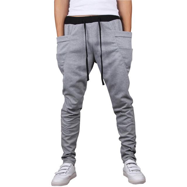 Clásico diseño fresco hombres pantalones harén 2016 otoño nuevos pantalones casuales de bolsillo grande de la marca de ropa de hip hop pantalones para hombre joggers
