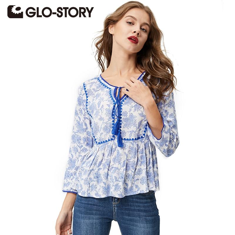 Glo-story 2017 mujeres étnico tassel tops y blusas de manga larga túnica blanca