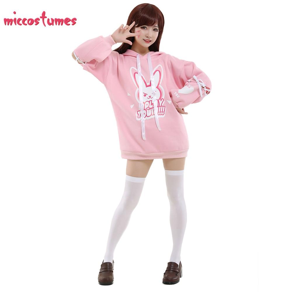 D.va Cosplay Pink Bunny Hoodie Cosplay Costume Women Halloween Uniform Outfit