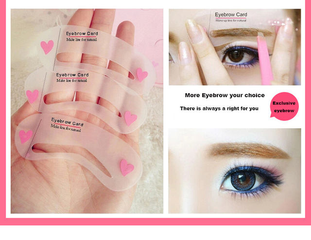White Eyebrow Shaping Stencils Template Card Makeup Thrush Tool Brow