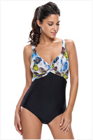 Free Shipping Hot Sale New Women Beach Bikini Sexy Twist Print Cami One Piece Swimsuit 4F410019