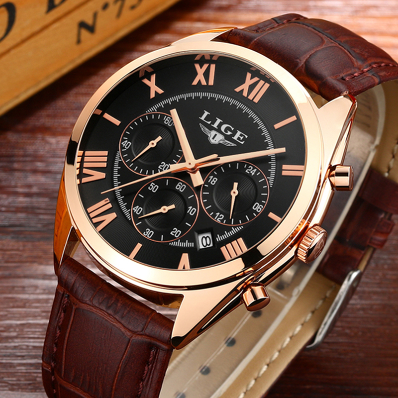 Mens Watches Top Brand Luxury LIGE Men's Quartz Watch Waterproof Sport Military Watches Men Leather Clock Man Relogio Masculino sinobi men watch s shock military watch for man eagle claw leather strap sport quartz watches top brand luxury relogio masculino