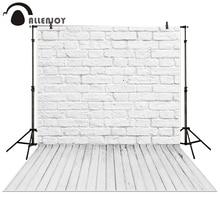 Allenjoy fotografia piso de madeira pano de fundo Da Parede de tijolo branca baby shower crianças fundo photo studio photocall