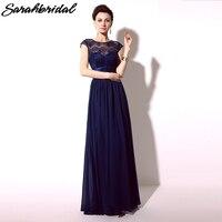 Royal Blue Voan Bridesmaid Dresses Dài Sheer Ren Neckline Wedding đảng Gowns Dài vestidos de dama de honra Trong Kho SD096