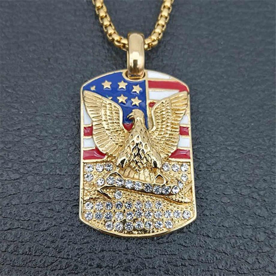 Hip Hop Es Keluar Hawk & Eagle Liontin & Rantai Warna Emas Anjing Stainless Steel: Perhiasan Bendera Amerika Kalung & Kalung