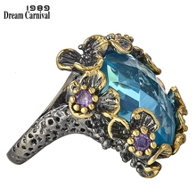 DreamCarnival 1989 New Arrivals Unique Big Rings for Women Blue Zirconia Surround by Purple Flowers Party Gift Drop Ship WA11553