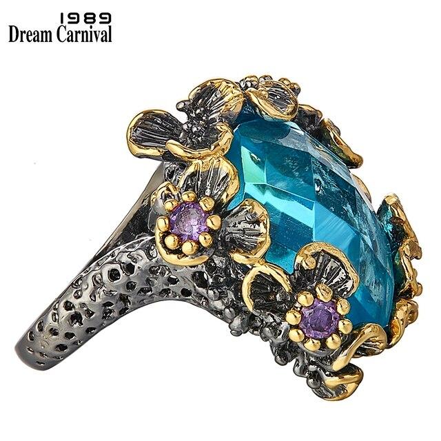 DreamCarnival 1989 nowości unikalne duże pierścienie dla kobiet niebieski cyrkon Surround przez fioletowe kwiaty Party prezent Drop Ship WA11553