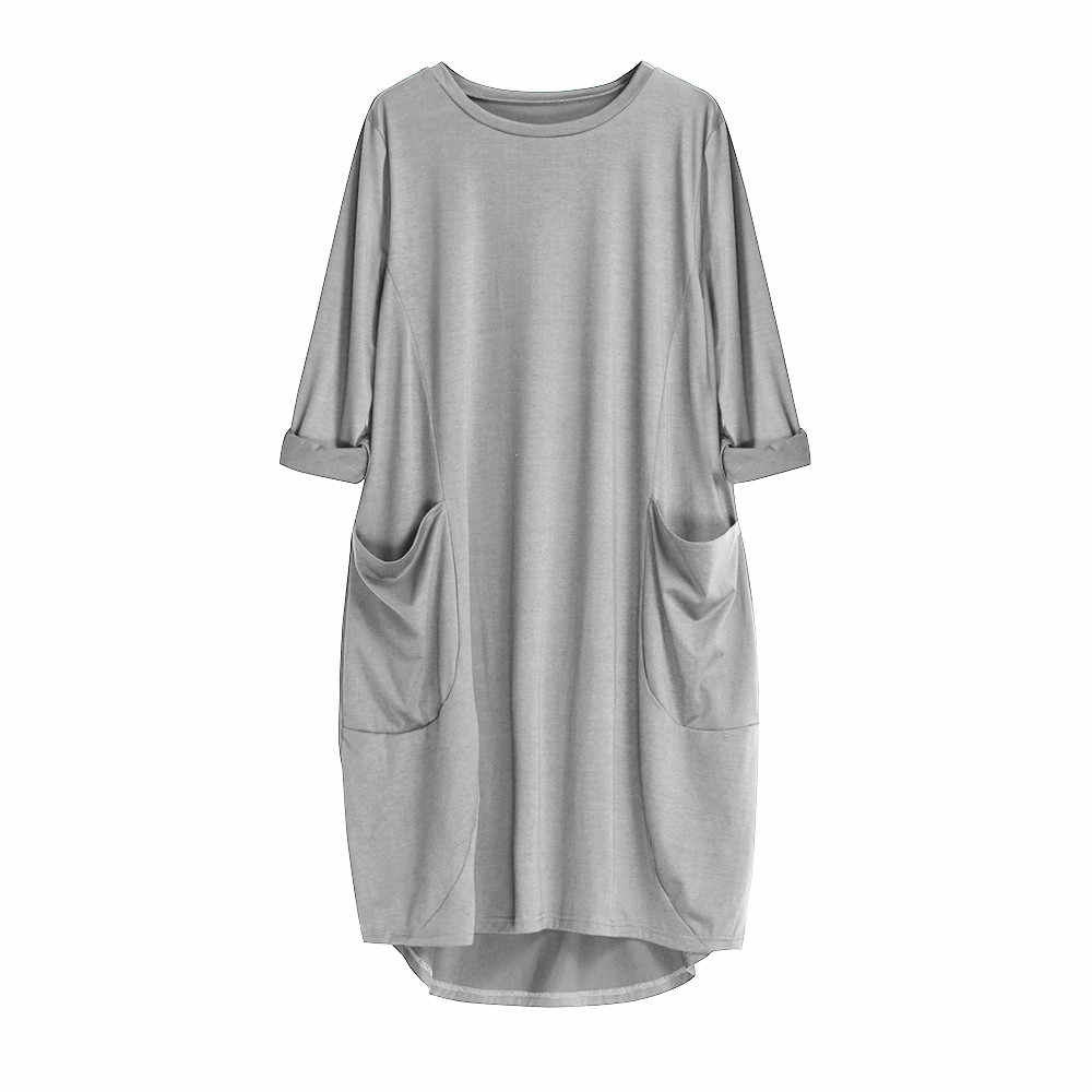 CHAMSGEND Dress Autumn Winter Womens Fashion Pocket Loose Dress Ladies Solid Color O-Neck Casual Dress Plus Size vestido 8.FEB.1
