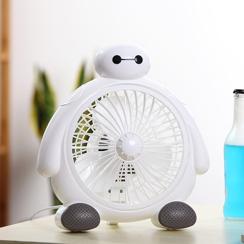 Mini Baymax  Fan 2 Gear speed Desktop Electric Fan  20W Power-saving Ventilador For Home Office Students 6 inch 2 in 1 desktop clock display fan usb 2 speed 5 mini fanfutural digital drop shipping augg18