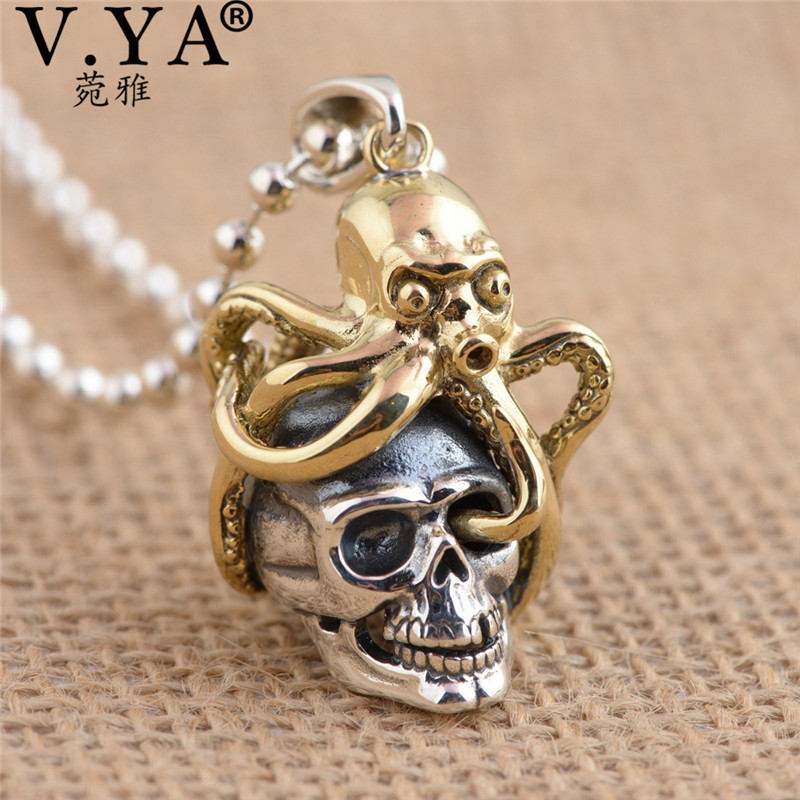 V.YA Unique Brass Octopus + 925 Sterling Silver Pendants fit Necklaces for Men Women Cool Skull Jewelry