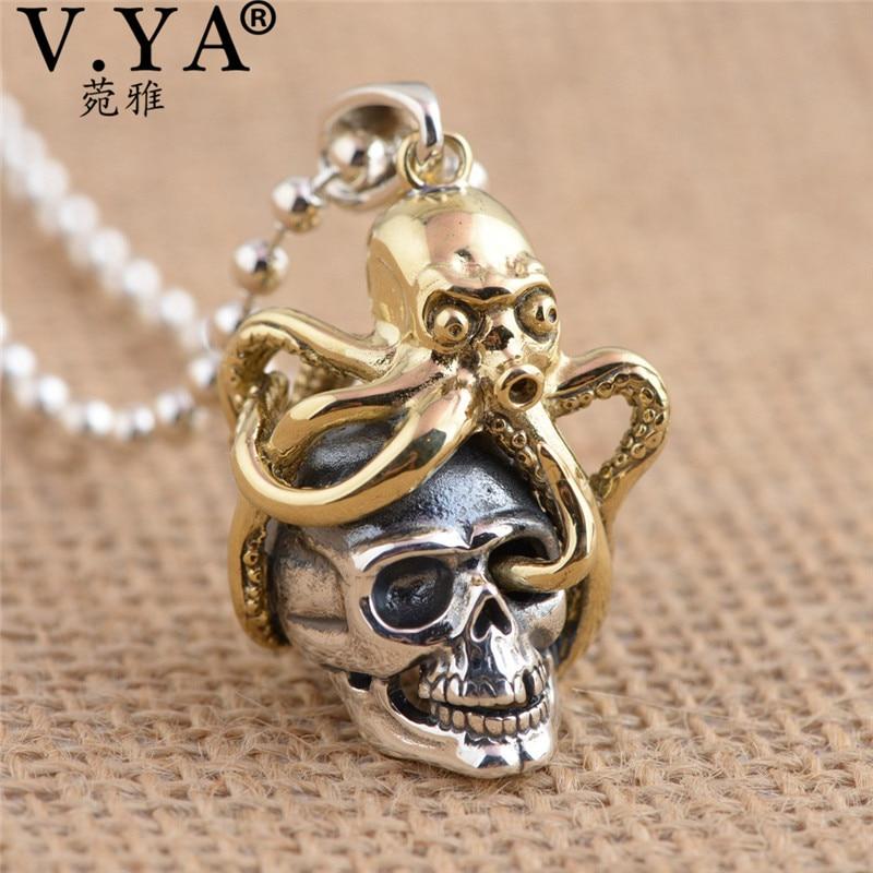 V. YA Unique en laiton pieuvre + 925 pendentifs en argent Sterling fit colliers pour hommes femmes Cool crâne bijoux