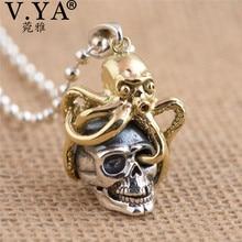 V.YA unikalny mosiądz ośmiornica + 925 Sterling srebrne wisiorki fit naszyjniki dla kobiet mężczyzn fajne biżuteria z czaszką