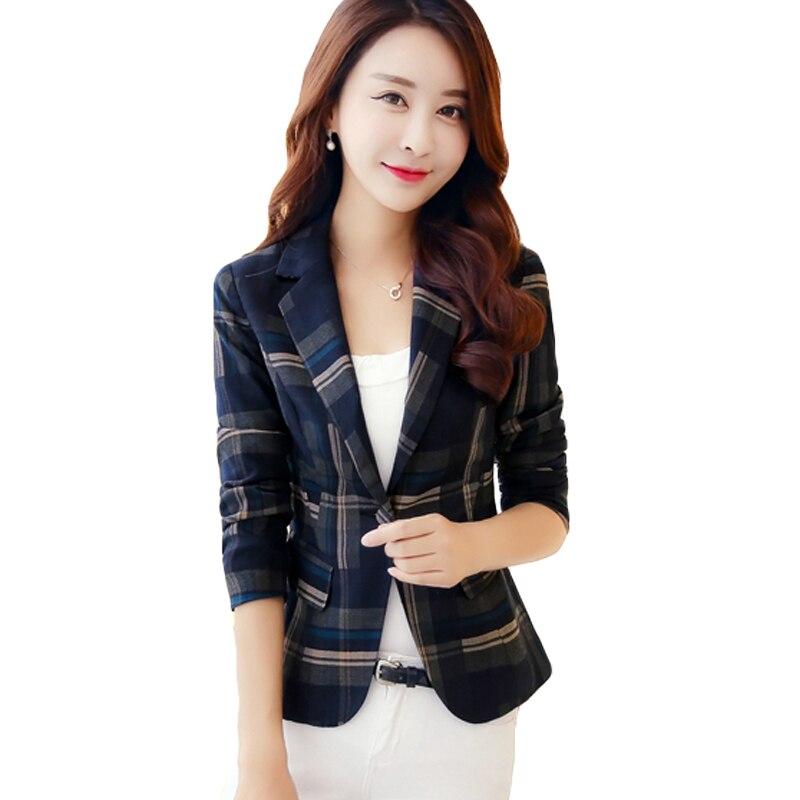 2017 OL Style Slim Fit Women Blazer Female Femme Womens Blazer Jacket Coat Red Blue Plaid One Button Suit Blazer Outwear XH120