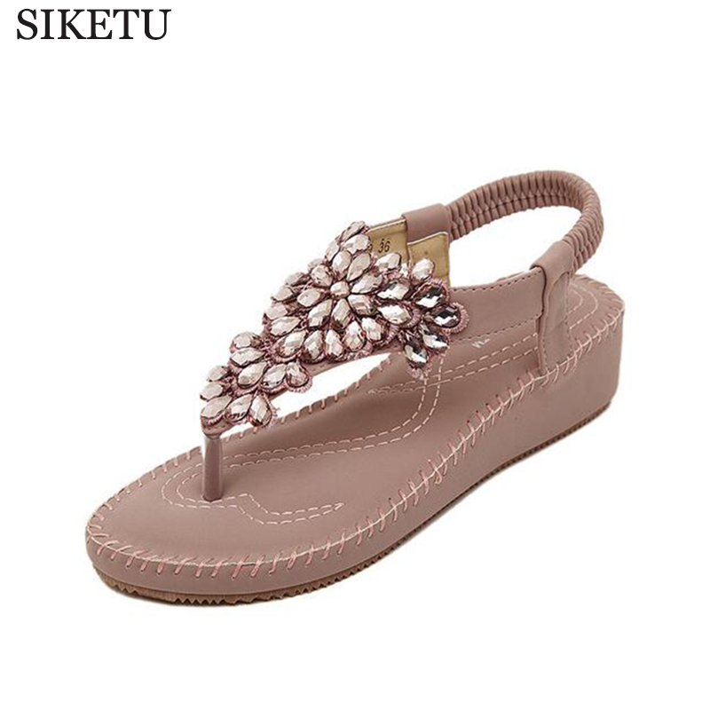 SIKETU new arrival 2017 Rhinestone women sandals low heel wedges summer casual shoes woman sandal fashion soft slippers s194 xiaying smile summer new woman sandals casual fashion shoes wedges heel women pumps bling crystal sweet lady style women shoes