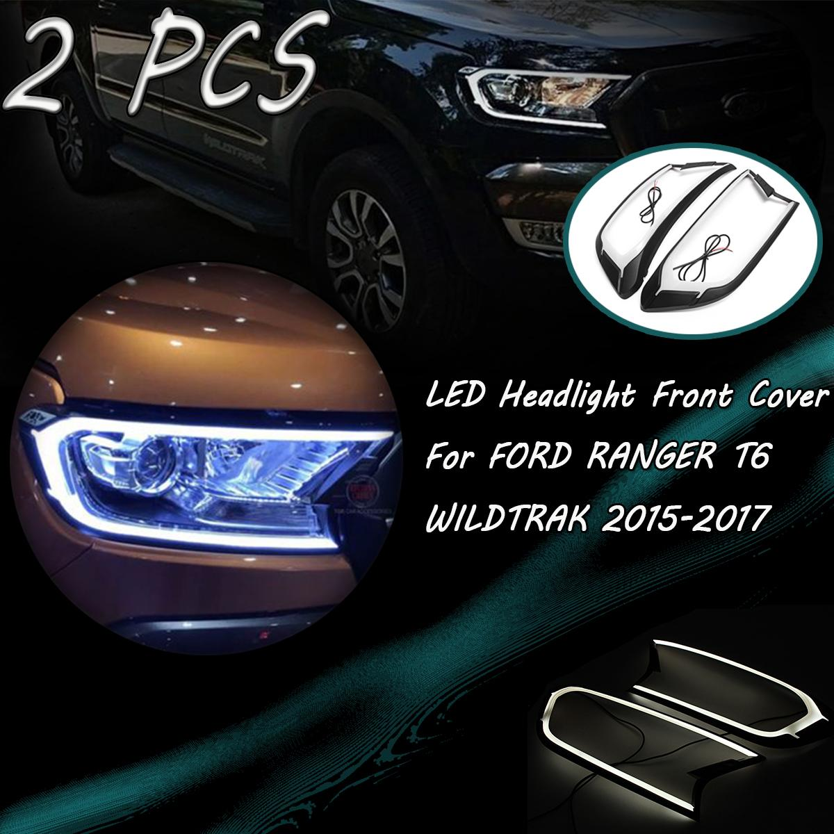 2pcs Matte Black LED Head Light Front Shell Cover Trim For FORD RANGER T6 WILDTRAK 15-17 ABS Lamp Hoods