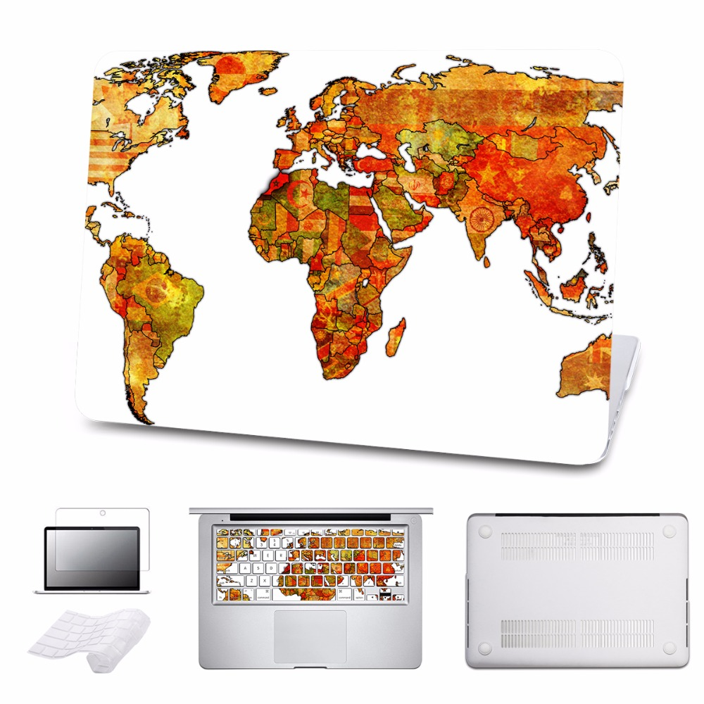 For Macbook Case Vintage World Map Cover For Air/Pro 11 12 13 15 Ratina 2016 Touch bar Laptop Hard Cases Shell 5 in 1 Bundle 5 in 1 bundle leopard cover case for apple macbook air pro retina 11 12 13 15 inch hard shell laptop bag with keyboard sticker