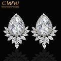 Trendy CWW Brand Diamante Women Ear Jewelry Platinum Plated Sparkling Big Teardrop Cubic Zirconia Earrings CZ377