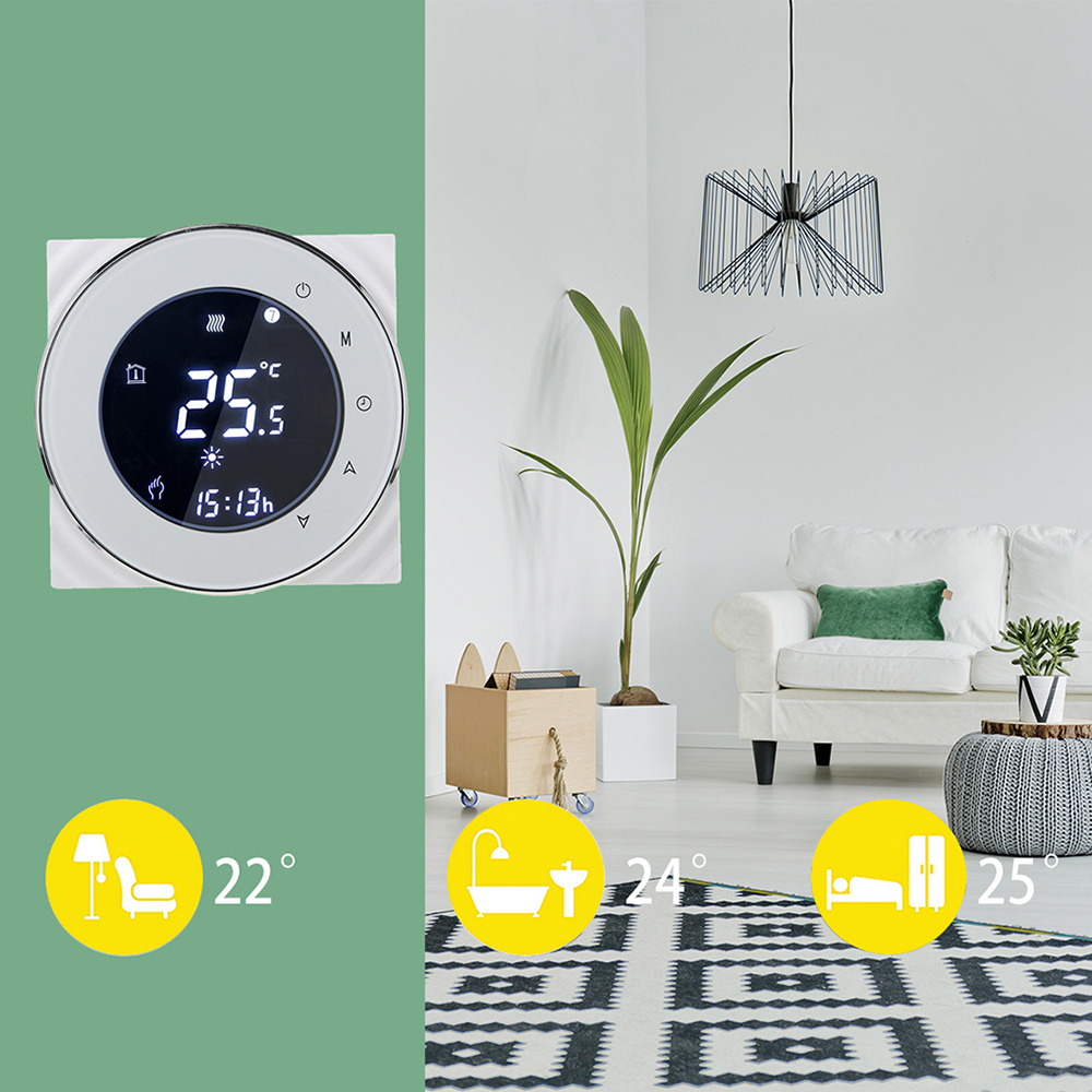 Programmable Gas Boiler Heating Thermostat LCD Touchscreen Temperature Controller Negative Display Warm Floor Thermoregulator battery powered digital programmable gas boiler thermostat controller with warm system
