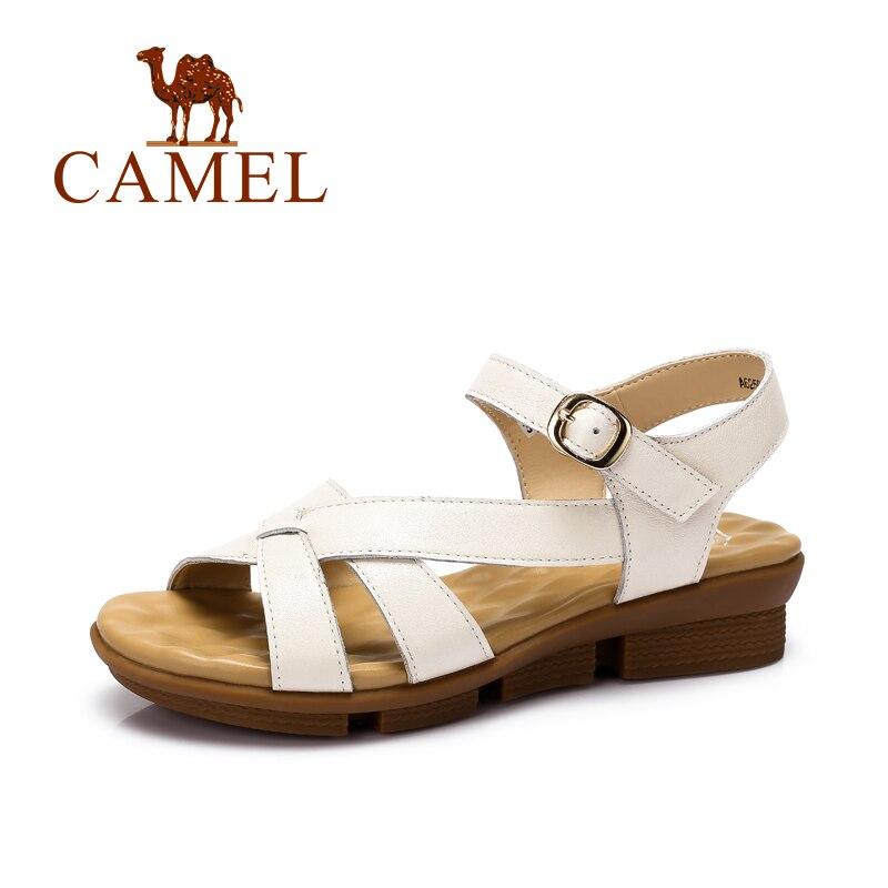 Верблюд летние женские босоножки новые Обувь открытым носком Sandalias плоским Обувь римские сандалии Сланцы обувь из воловьей кожи a62504621