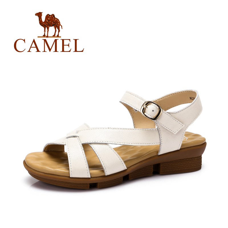ФОТО Camel Women's Causal Sandals Summer Daily Comfortable Leisure Cowhide Buckle With Female Sandals Simple Sandals A62504621