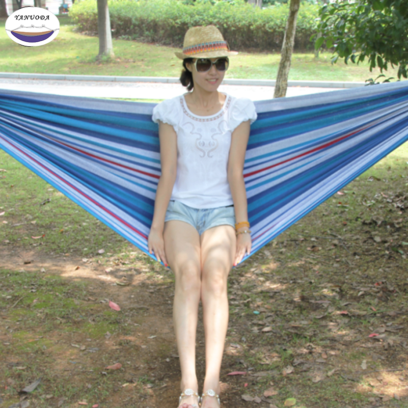 High Strength Portable Hammock Backpacking Hiking Woven Cotton Fabric Striped Camping Outdoor Furniture