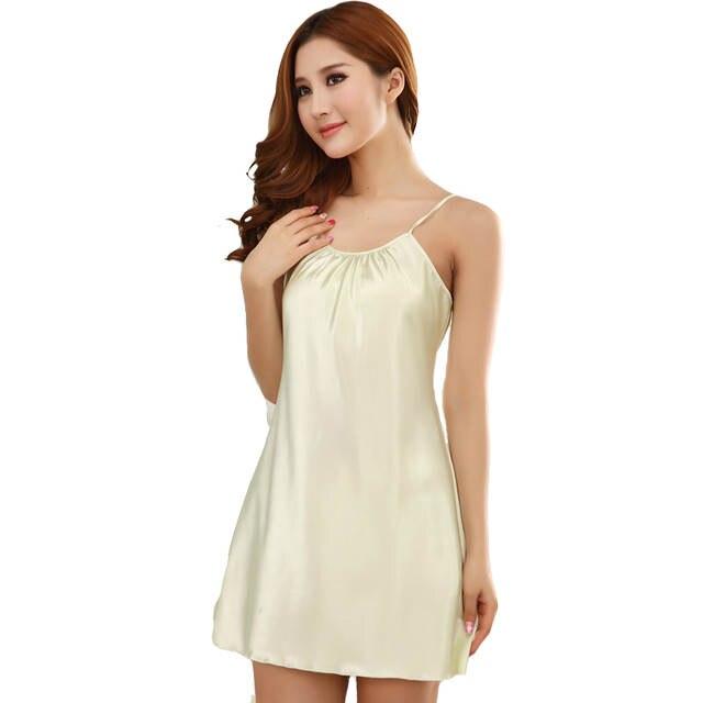 6de67f10f1 Online Shop Sexy Mini Lady Spaghetti Strap Nightgown Women Robe Gown Short Sleepwear  Satin Rayon Nightwear Nightdress Nighties Pajams