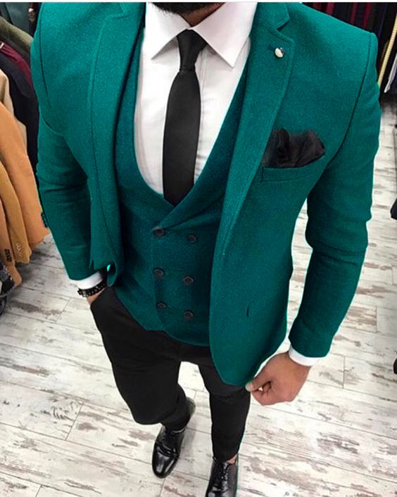 2017 Latest Coat Pant Designs Green Tweed Men Suit Double Breasted Formal Skinny Blazer Winter ...
