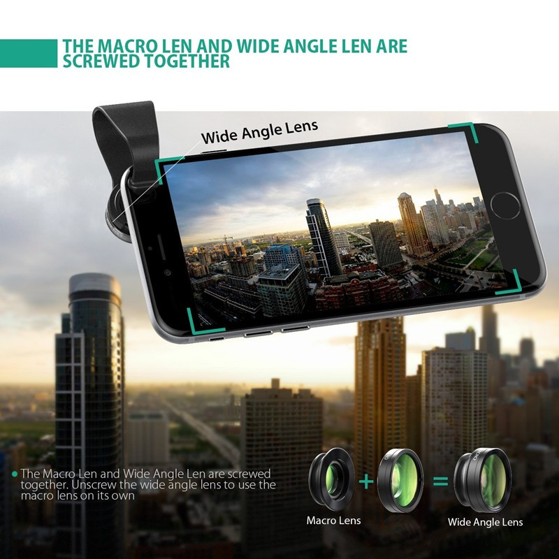 AUKEY 180 Degree Fisheye Lens + Wide Angle + Macro Lens 3in 1 Clip-on Cell Phone Camera Fish eye Lens for Xiaomi & other Device 9