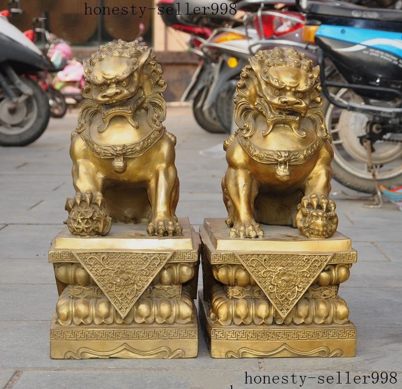 Chinese Pure Brass talisman Fengshui Evil Door Fu Foo Dog Lion beast kylin Pair