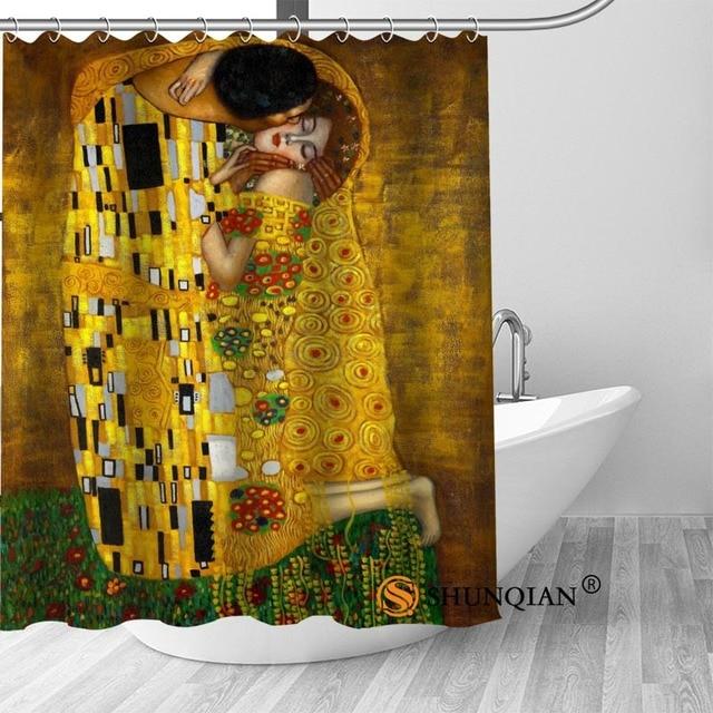 New The Kiss Gustav Klimt Shower Curtain Bathroom Decorations For Home Waterproof Fabric Bath A1813