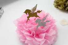 100PCS Gold Glitter Unicorn Birthday Wedding Cupcake Toppers Baby shower Cake toppers Party Supplies Decoration