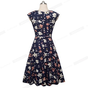 Image 2 - Nice forever Elegant Vintage Floral Printed Party vestidos Cap Sleeve A Line Female Flare Swing Women Dress btyA067