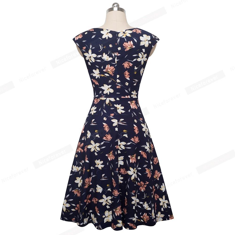 Image 2 - Женское платье Nice forever, винтажное платье с цветочным принтом и рукавами крылышками, btyA067Платья   -