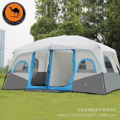 Chameau en plein air tente 10-12 personnes conduite deux-chambre double automatique tente tente de camping